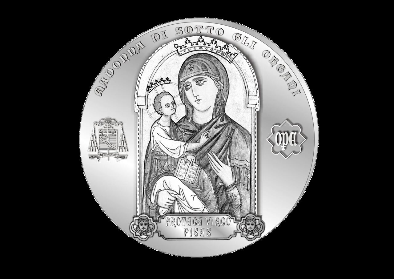 Rovescio: Madonna di sotto gli Organi affiancata dai simboli Arcivescovile e Primaziale